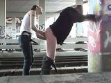 Horny girlfriend with a strapon pegging her boyfriend
